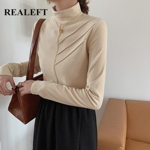 REALEFT Minimalist Velvet Women's T-shirt 2020 New Autumn Winter Solid Bottoming Wild Fashionable Long Sleeve Turtleneck Tops