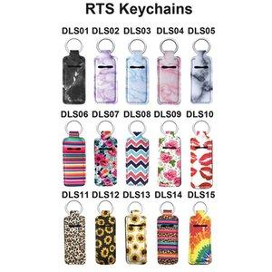 Neoprene Chapstick Holder printed Handy Lip Balm Keychains Neoprene Keychain Lipstick Holder pouch Keychain Party Favor T2C5235