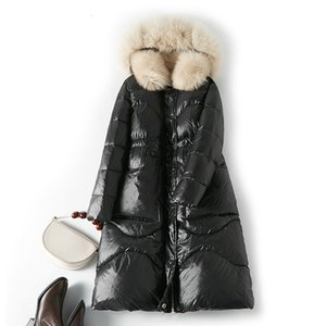 Winter Coat 2020 Natural Fox Fur Hooded 90% белая утка куртка Тонкий Женщины Длинные вниз Parka Женский Толстые Теплые пальто
