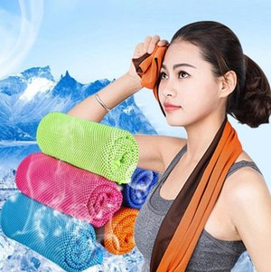 Doppelschicht Eiskühltuch Kühle Sommer Kälte Sporttücher Sofortiger kühler trockener Schal weiches atmungsaktives Eisgürtel-Handtuch für Erwachsene Kinder