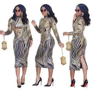 Dresses Long Sleeve O Neck Slim Split Clothing Mental Color Elegant Bodycon Party Dress For Women Sequins Sexy Womens