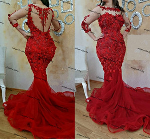 Vestidos Formales 3D floral Red Mermaid Evening Dresses Long Sleeves Prom Dress Applique Beaded Party Gowns Celebrity Sukienki