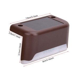 Solar Step Light Battery Waterproof IP65 Smart Light Control Outdoor Fence Light 1.2V 0.2W Warm White Lamp Brown