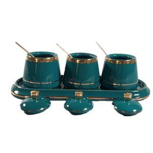 Barattolo di spezie in ceramica trapezoidale di alta qualità con coperchio e piastra. Bottiglia di stoccaggio della spezia della cucina adatta per la cucina