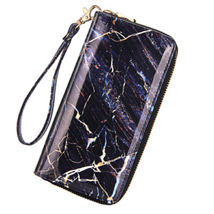 Women's Wallets Multi Credit Card Holders Lady Pu Leather Phone Pack Marble Pattern Zipper Coin Purses Fashion Long Clutch Purse