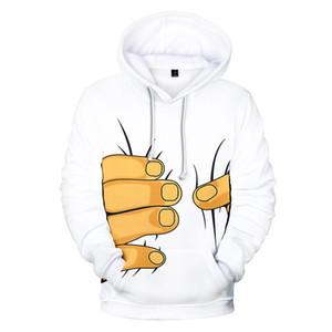 Hara Big Finger 3D con cappuccio Uomini Donne Streetwear Felpa con cappuccio Pullover Juku 3D Felpa casual stampa completo incappucciato