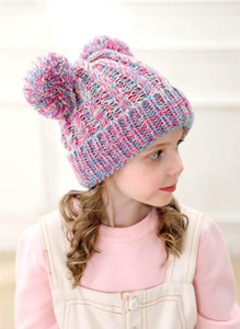 Kid Knit Crochet Beanies Hat Girls Soft Double Balls Winter Warm Hat 12 Colors Outdoor Baby Pom jllwYL bde_jewelry