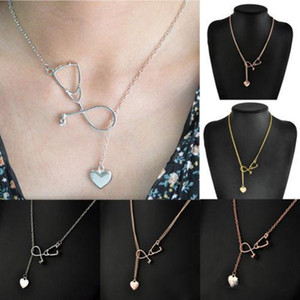 New Fashion Medical Jewelry Alloy I Love You Heart Pendant Necklace Stethoscope Necklace for Nurse Doctor Jewelry Gift Wholesale