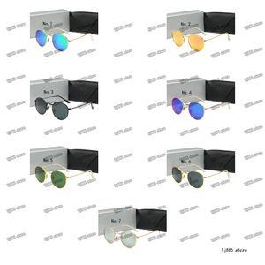 2021 Klassische runde Sonnenbrille Marke Design, Tragen von Metallgoldrahmen Sonnenbrillen, Männer, Frauenspiegel, Mode Glaslinsen mit Kasten