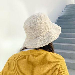 Bucket Hat Women Winter Hats For Women Cashmere Bucket Hats Korean Fashion Thick Warm Solid Color Ladies Hat Cap
