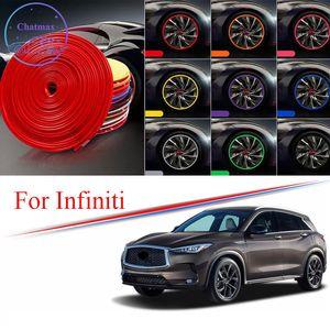 8M Multi-Colors Car Wheel Hub Rim Trim for Infiniti Q50 Q60 QX30 QX60 QX80 ESQ EX FX Edge Protector Ring Tire Strip Guard Rubber Stickers