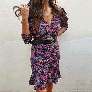 Women sweet floral pattern mini dress sexy deep V neck long sleeve slim fit cute female casaul elegant dresses vestidos