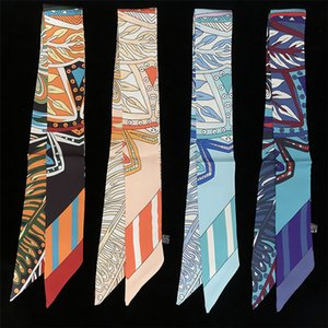 Top Imitated Twill Silk Scarf Small for Women Great Bag Strap Bohemian Print Bandage Tail Ribbon Twilly Handkerchief Blue Wrap