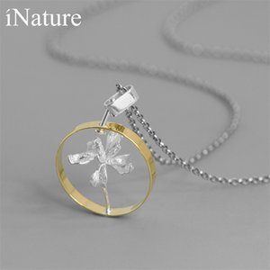 INATURE 925 Sterling Silver Elegant Iris Flower Round Pendant Necklaces For Women Jewelry Gift F1202