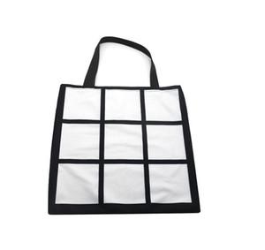 Sublimation Grid handbag Tote Bag Blank White DIY Heat Transfer Shopping Bag 9 Panels Cloth Reusable Storage Gift Bag Handbag 9988