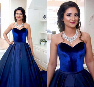 Royal Blue Top Velevet Quinceanera Dresses Satin Ball Gown Sweet 16 Girls Prom dresses Sweet 16 Plus Size Party Prom Evening Gown