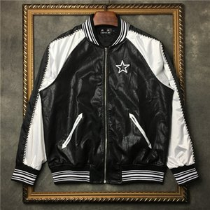 Negro Patchwork Embrodiery Star New Men's PU Jacket Baseball Coat Tie Casual Falso Cuero PP | 4191p3560 cdlz
