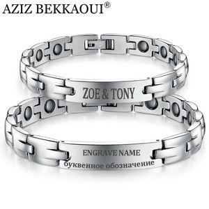 AZIZ BEKKAOUI Healthy Magnetic Bracelets & Bangles Stainless Steel Magnetite Lovers Jewelry For Men Women Special Named Bracelet