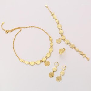 Classic Fashion Bride Muslim Coin Necklace Earring Ring Bracelet Gold Color Set Middle East Arab Wedding Jewelry gift1