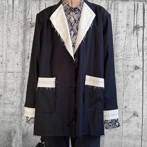Color Pockets Suit Men and Women V Neck Oversize Streetwear Windbreaker Coat Hip Hop Loose Jacket