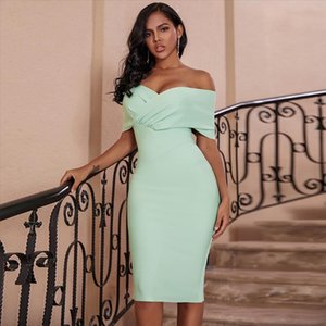 Ocstrade Summer Fashion Womens Off Shoulder Bandage Dress 2020 New Sexy Draped Green Bandage Dress Rayon Night Club Party