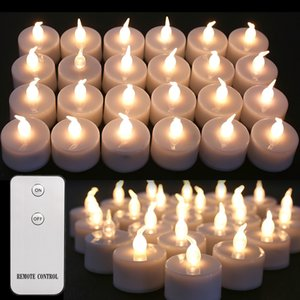 New Flickering LED Tealights Remote Control Battery Powered Flameless Candles For Home Party Birthday Christmas Decoration LJ201018