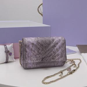 Neue Stil Umhängetasche Weiche Matrasaische Textur von Lavendel Metall Wasser Schlange Haut 47291350 Die Tasche ist abnehmbare einstellbare Kette Loulou Bag