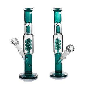 "Spiral Percolator Glass Water Pipe with Ice Catcher 13.5"" oil rigs burner pipe water bongs de agua de vidrio"