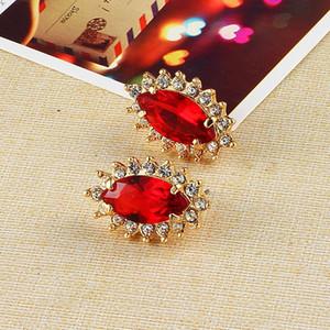 Crystal Plated Gold Wedding Wedding Boucles d'oreilles de mode coréenne Boucles d'oreilles en ligne Shopping India Studs ABC