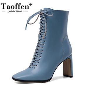 TAOFFEN Size 34-43 Women Ankle Boots Fashion Cross Strap High Heel Winter Shoes Woman Zipper Office Lady Street Footwear 201215
