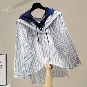Irregular Shirt for Woman New Side Split Hoodie with Drawstrings Striped Shirts Fashion Korean Style Loose Student Sweatshirt