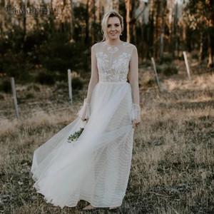 Bohemian Wedding Dresses O Neck Long Sleeve Floor Length A Line Lace Appliques Illusion Bodice Boho Beach Bridal Gowns robes de mariee