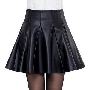 Women Leather Skirt Autumn Winter PU Leather Pleated Skirt Faldas Plus Size 5XL Mini Short Sexy High Waist Skirts Womens C5791