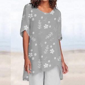 Shirt Blouse 2020 new Casual Printing Summer Women Half Sleeve shirt Retro Elegant Female Party Vestidos 5XL