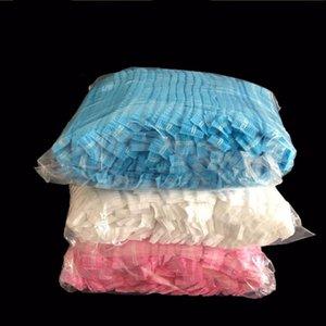 100 unids Doble cinta no tejida Ducha desechable gorras de ducha plisado Sombrero de polvo plisado Mujeres Hombres Baño para spa Pelo Salón Accesorios de belleza H WMTPTU