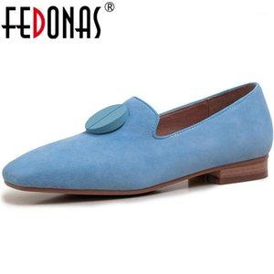 Fedonas Sheepskin 2020 Bombas Quadrado Saltos De Camurça COURO CONSISE Sapatos Botão Prom Sweet Basic Bombas Nova Chegada Sapatos Mulher1