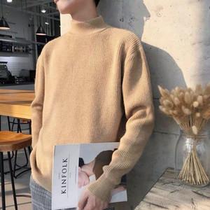 Half high collar sweater men's 2020 new autumn   winter Korean fashion knitwear Plush thickened Pullover Jacket bottoming shirt