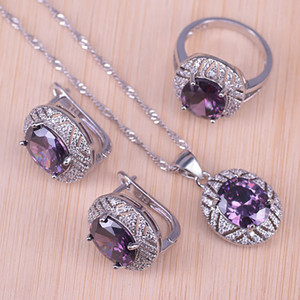 Risenj silver color jewelry for wedding purple crystal white cubic zirconia hoop earrings ring necklace set for women Z1201
