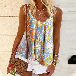 2020 Summer digtail Print blouse Shirts Women sexy strap Polka Dot Boho tops Girls new fashion V neck Blusa dropshipping