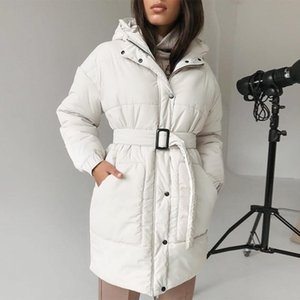 2020 white belt women's winter coat elegant standing collar long women's pakas casual warm cotton padded jacket with hat