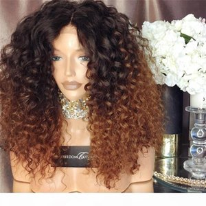 Bythair virgin brazilian human hair wigs ombre color #1B #30 kinky curly full lace wigs 150% density lace front wigs for black woman
