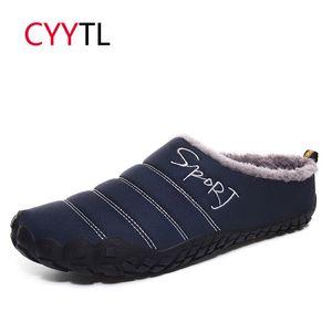 CYYTL Winter Men Warm Fur Home Slippers Man Waterproof Soft Shoes Non-slip Indoor Leather Big Size Snow Pantuflas Hombre Sloffen