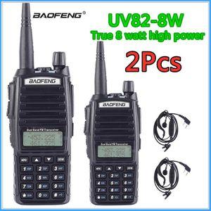 Walkie Talkie 2PCS 8W Baofeng UV-82 듀얼 밴드 VHF UHF 트랜시버 사냥 휴대용 CB 햄 라디오 10km UV82 양방향
