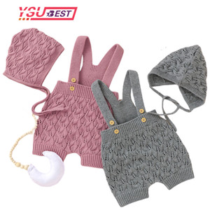 Baby Rompers Sleeveless Autumn Winter Knitted Newborn Girls Boys Jumpsuits + Hat Outfits One Pieces Overall Toddler Kids Clothes Z1121