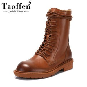 Taoffen Women Genuine Leather Motorcycle Boots Round Toe Outdoor Fashion Daily Casual Shoes Woman Footwear Size 34-39