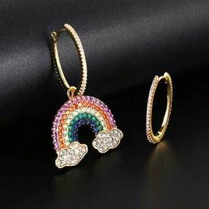 S925c pure silver sweet rainbow Earrings Lucky lady Color Earrings Popular high end Fashion Perfect gift Free shipping party extravagant