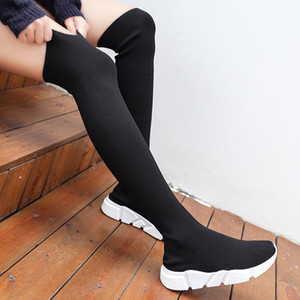 Woman Long Tube Socks 2020 New Fashion Flat for Basket Winter Boots Female Shoes Women Sneakers Q1124