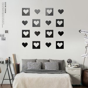 DIY 3D Mirror Wall Sticker Heart-shaped Home Decor Mirror Decor Stickers Art Wall Decoration Stickers Multi-color
