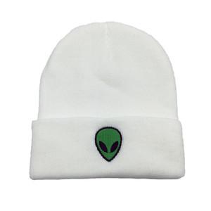Alien Sonbahar Kış Kafatası İşlemeli Yün Örme Erkekler Beanie Şapka Kadınlar Için Açık Rüzgar Geçirmez Sıcak Tutmak Yumuşak Fold Soğuk Kapaklar W123