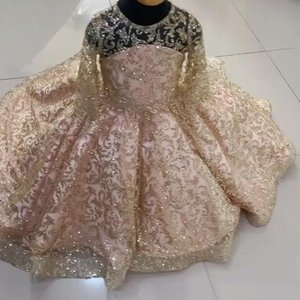 Sparkly Gold Lace Little Girls Pageant Dresses Sequined Ball Gown Flower Girl Dress For Wedding Long Sleeves First Communion Gowns